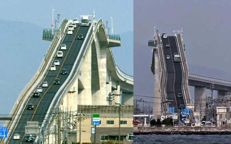 日本人太狂了!每天上下班都要經過「近90度垂直的大橋」,上班開這條都醒了!