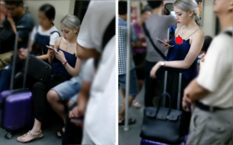 地鐵上遇混血正妹「低胸露雪乳」,網友側拍臉蛋兒跪求鑑定:到底是歪國人還是本土?