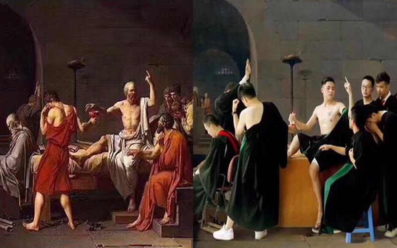 史上最狂畢業照!畢業生神還原三幅名作,第一組「牆上半裸亮點」網友笑翻XD