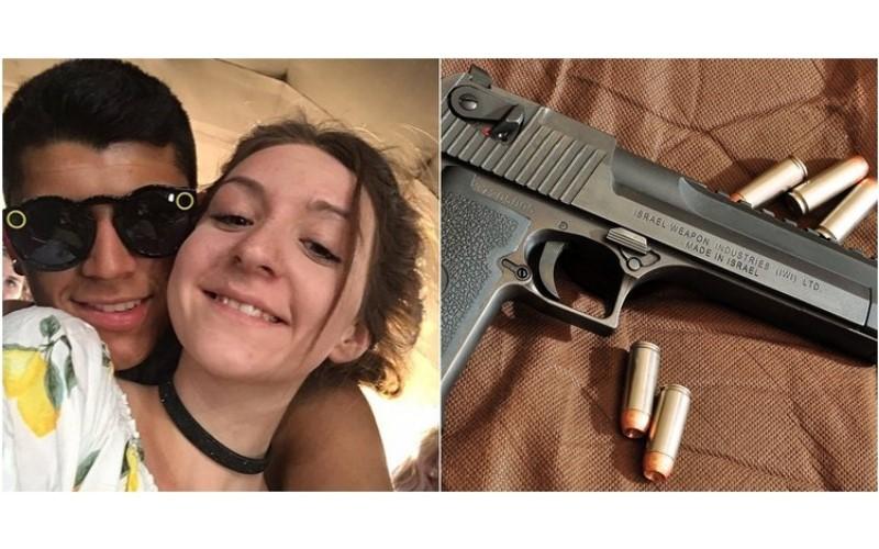 真的紅了!為當「網紅」情侶實拍拿書本擋「沙漠之鷹子彈」!男友胸膛被轟穿GG了…