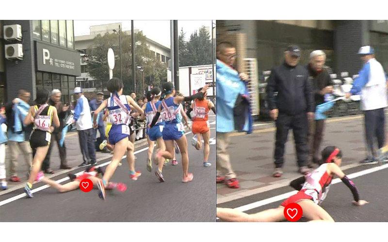 比賽放送事故!女高中生慘跌  巧被捕捉「雙腿地帶露出」…羞被全國看光光!