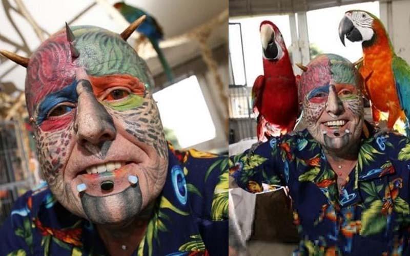 他因為太愛鸚鵡,於是把自己慢慢整成鸚鵡,嫌有耳朵不像還特地切掉雙耳!