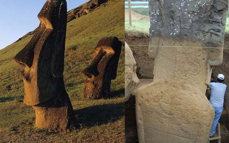 考古學家最近挖掘石像底部才發現「原來復活節島的摩艾石像不只是顆頭」竟然還有身體啊!