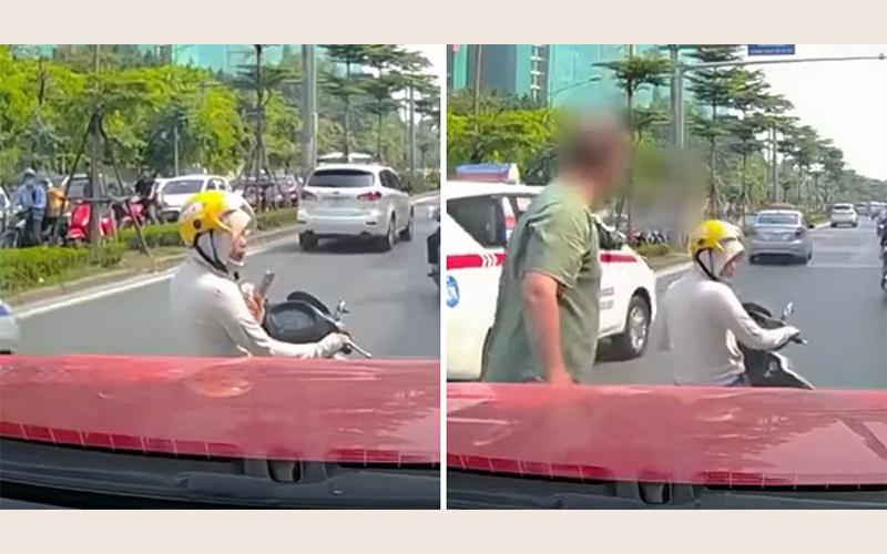 超狂三寶女「車停馬路中央玩手機」無視按喇叭驅趕!暴怒老外一下車就讓她嘗到苦頭(影)