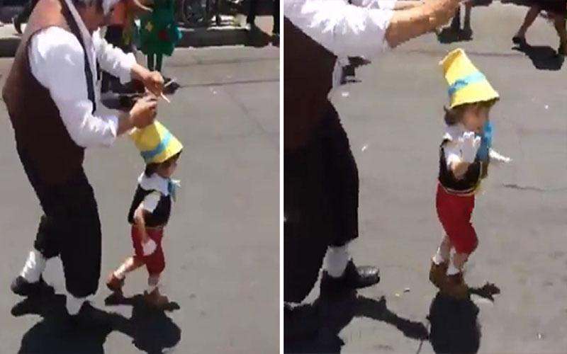父子Cosplay「老木匠和皮諾丘」超吸睛,小男孩一揮手打招呼萌翻所有人!
