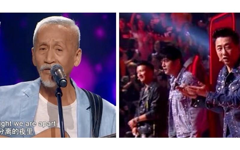 74歲陳彼得參加《中國好聲音》「深情嗓音」讓全場沸騰 4名導師「堅決不轉身」網友笑:他們哪敢