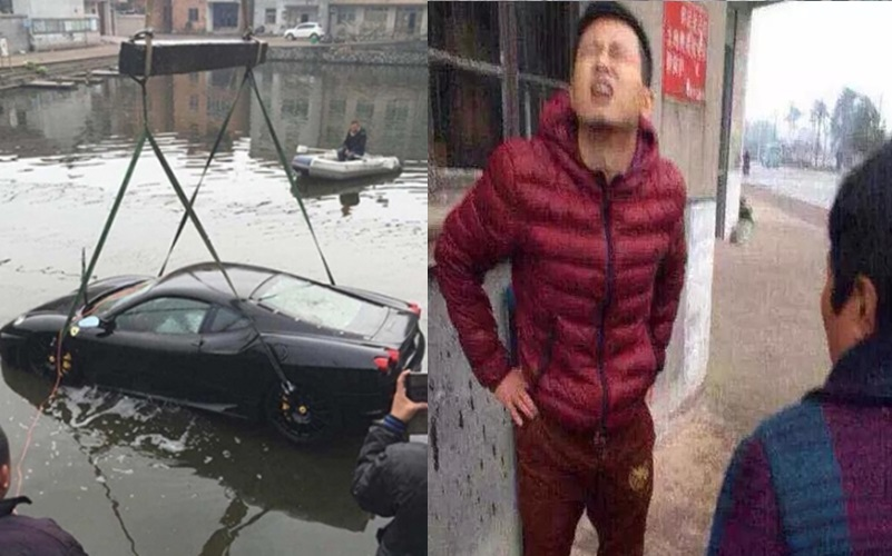 法拉利車主一個不注意連人帶車衝進魚塘,鬱悶之餘聽見魚塘主人一句話崩潰了....