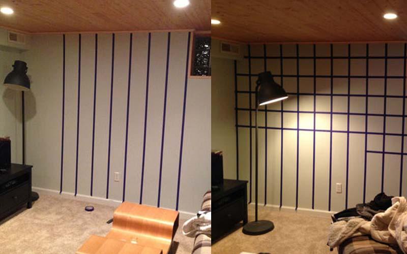 男子只用了四捆膠帶亂貼在牆上,平淡的房間立刻升級變成豪華摩鐵風格!這真是我看過最強大的!