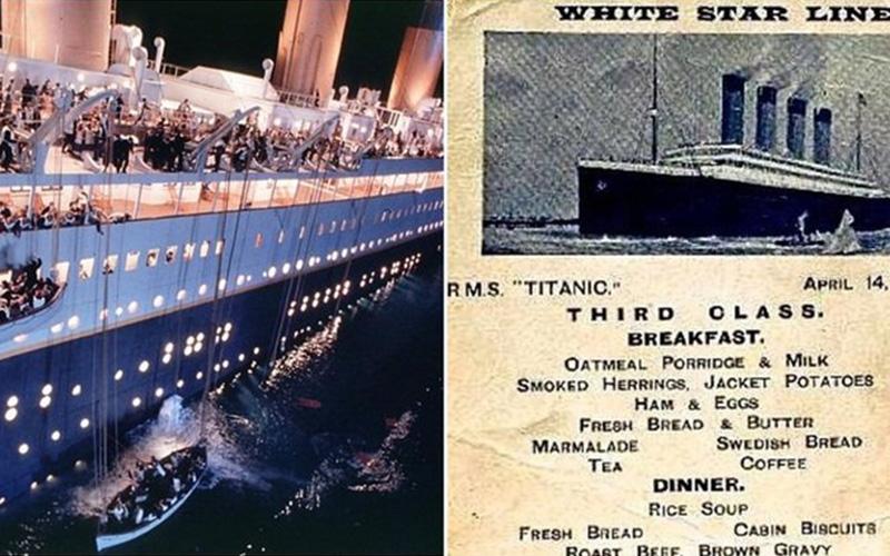 「鐵達尼號」沈船前乘客們最後的一餐...珍貴菜單曝光才發現三等艙根本超慘:吃不好還活不了!!