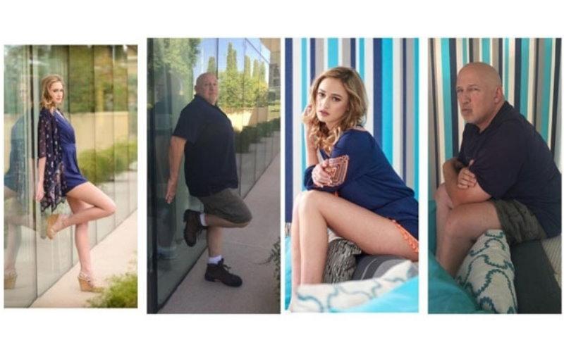 老爸在「搔首弄姿神還原」模特兒女兒的照片,趴在游泳池邊的畫面超噴飯啊!