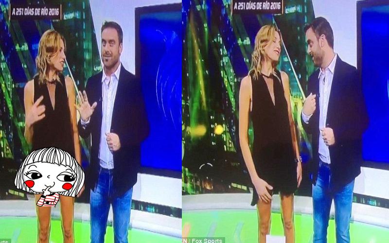 美女主播播報奧運新聞時竟「自撩」裙子,粉色小內內就這樣被直播大放送!:In了!(圖+影)