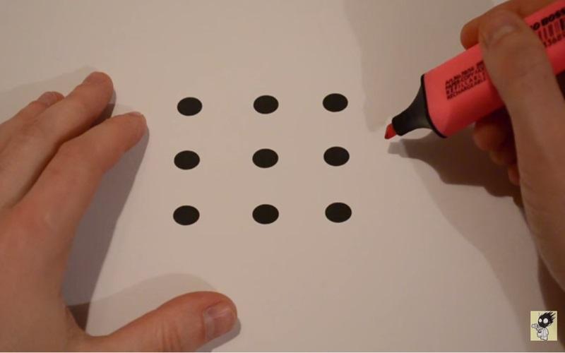 用4條直線將9個黑點連起來?!全世界只有20%的人可以在3秒鐘內解出來!