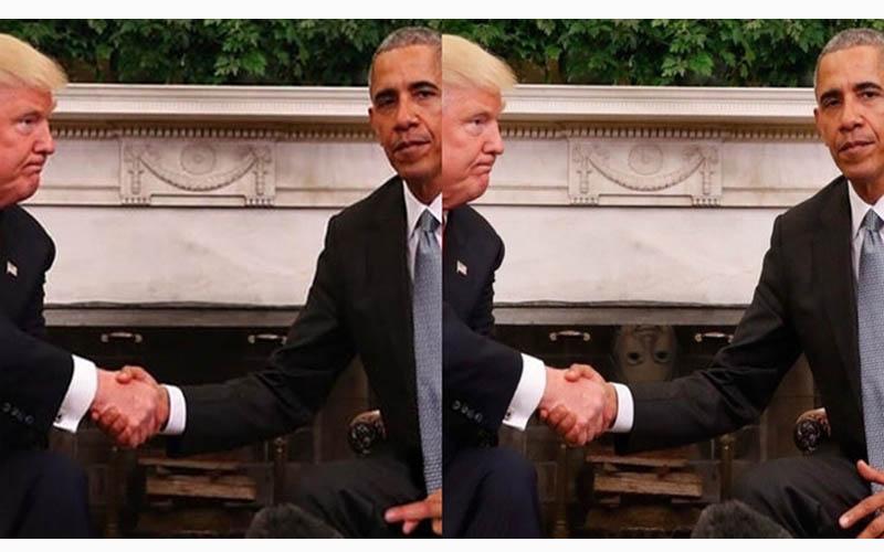 川普與歐巴馬的白宮一握,不情願的表情被網友瘋狂神改!希拉蕊躲壁爐太好笑了XD