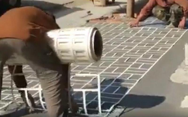 你以為人行道磚塊是「一塊一塊裝上去的」?!原來地磚是這樣鋪的!: 這個鋪法好療癒