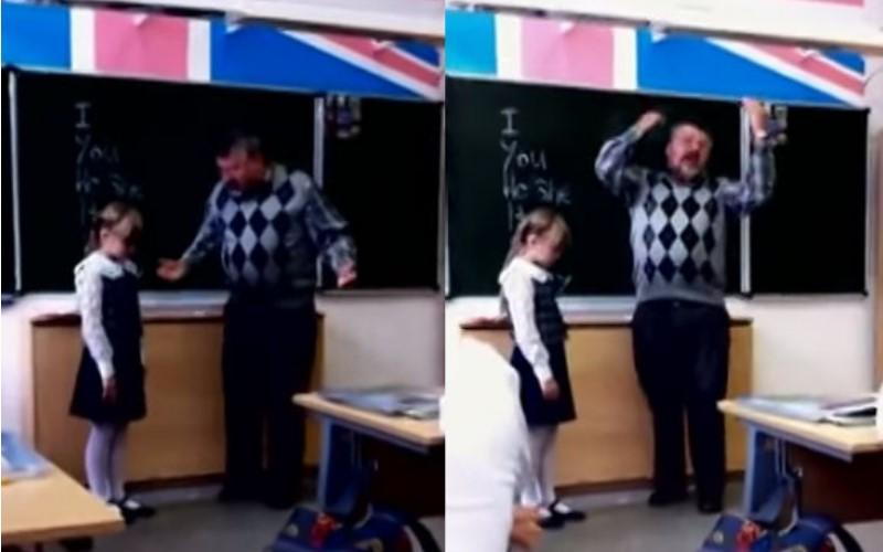 這個小女孩因為不會唸「YOU」被老師當著全班面大罵戳額,結果...(圖+影)