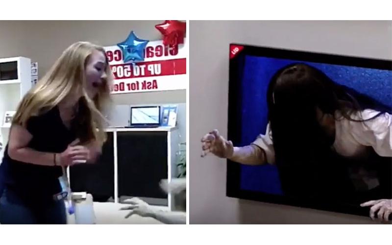 最新4K電視太逼真了!當「貞子爬出電視」時顧客反應超爆笑!(影片)