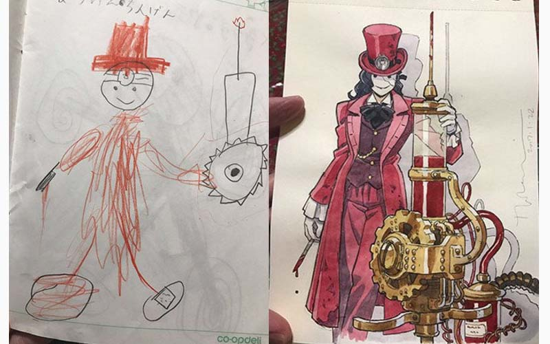 神手爸爸總能把兒子在紙上的亂塗鴉變成超級精美的動漫風插畫!嘆為觀止啊!