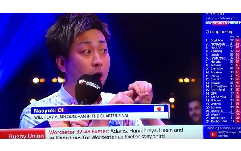 日本撞球手「菜英文」強裝超自信用「PPAP」回答,雞同鴨講讓主持人尷尬啦! (圖+影)