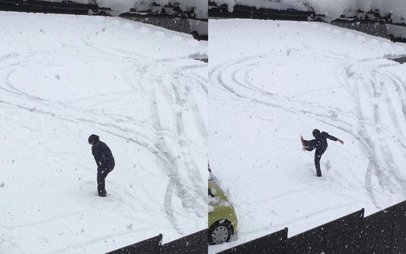 男子在大雪中熱舞,突然一個沒踩穩....網友:史上最華麗的跌倒!