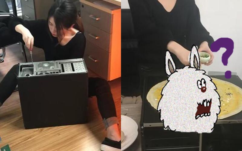 「早餐很重要不能馬虎」!超狂OL進辦公室就拆電腦主機煎蛋餅?!:這女的不能再狂了(影)