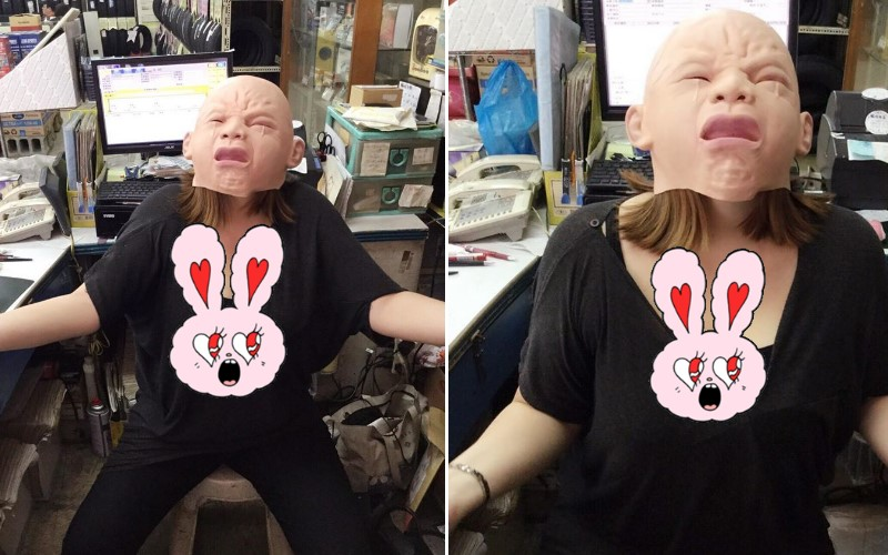她抽獎抽到面具...戴上後po網分享,結果網友全「失焦」:深溝太搶戲!