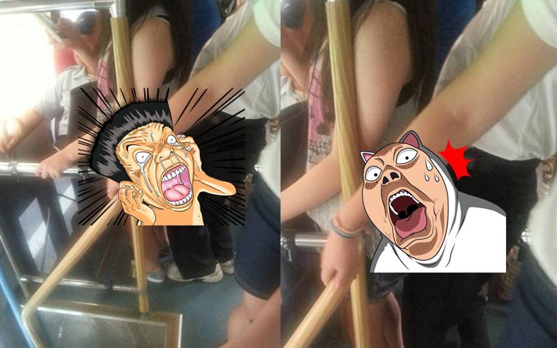 公車上緊貼正妹「消火」? 阿伯「立頂」吊噶妹展現腰力...網友:這樣也爽?