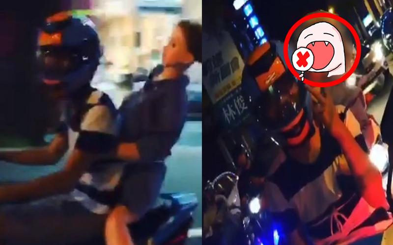 男子騎車載「生日禮物」送好友,希望警察不要臨檢… 網友:腳要這麼開嗎?