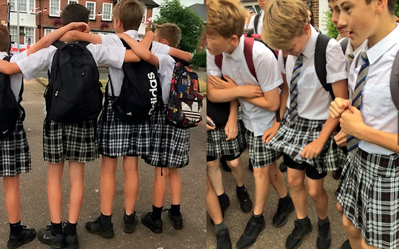 夏天熱浪來襲校方「還堅持男學生穿長褲上課」,於是這群英國男學生索性「穿上短裙」發起抗議!:好萌