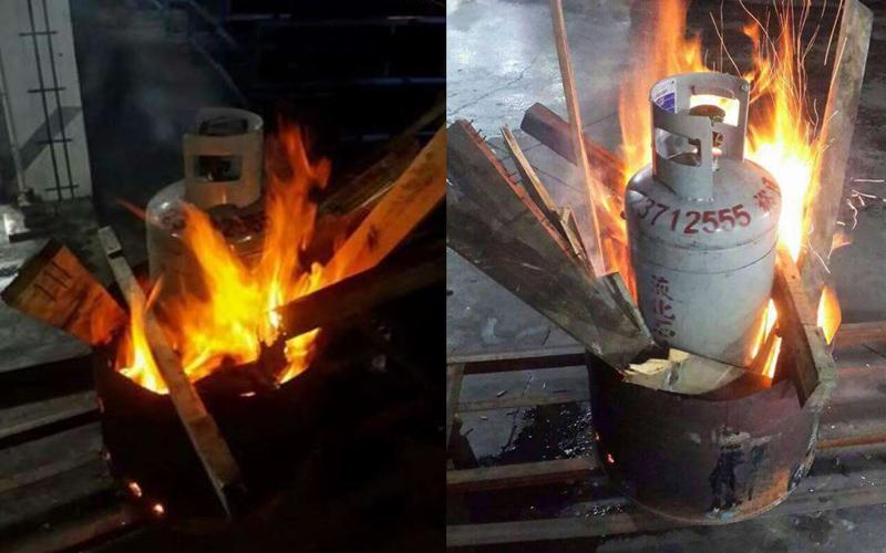 超狂男子把瓦斯桶放在火堆裡燒嚇壞鄰居路人,之後看到爆笑真相網友:差點報警!