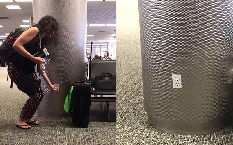她在機場發現插座很開心,但下一秒「她卻狂插到崩潰」!網友定睛一看笑翻...:太邪惡了!