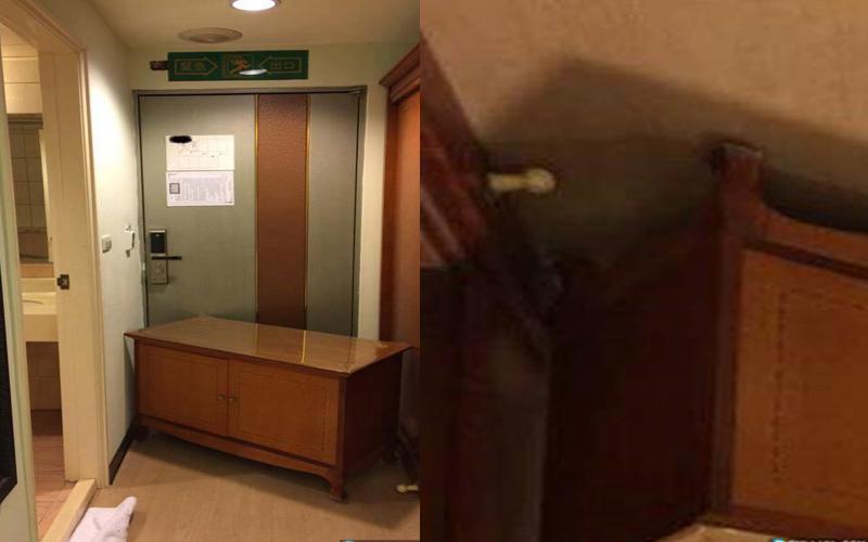 他住飯店房門竟然「自動開」,在角落隨手一拍....眼尖網友發現「恐怖一幕」:好毛!
