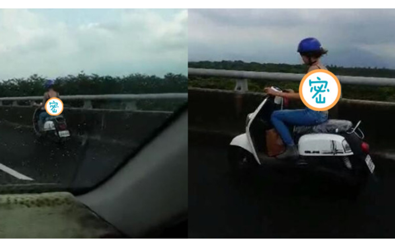 「爆乳辣妹違規騎上國道」駕駛看傻PO網!鄉民歪樓:「全力支持」!