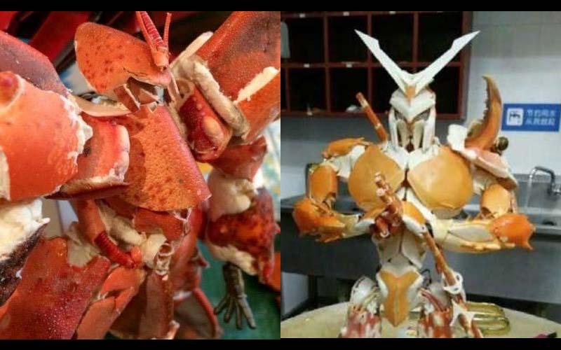神級網友們將吃完的龍蝦螃蟹殼拼裝成鋼彈,水準高到像外面賣的公仔模型啊!