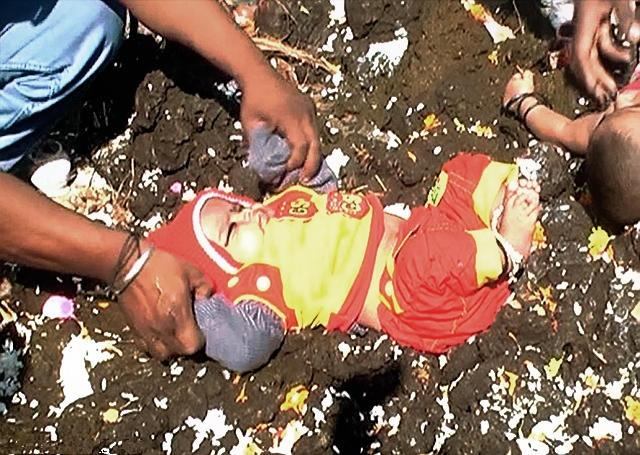印度人將孩子扔進牛糞裡面,連小嬰兒也不放過,背後原因竟是這個...