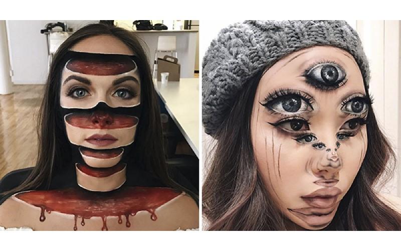她辭掉老師的工作成為「幻覺系藝術家」,超逼真的「恐怖妝」看了晚上都要做噩夢了!