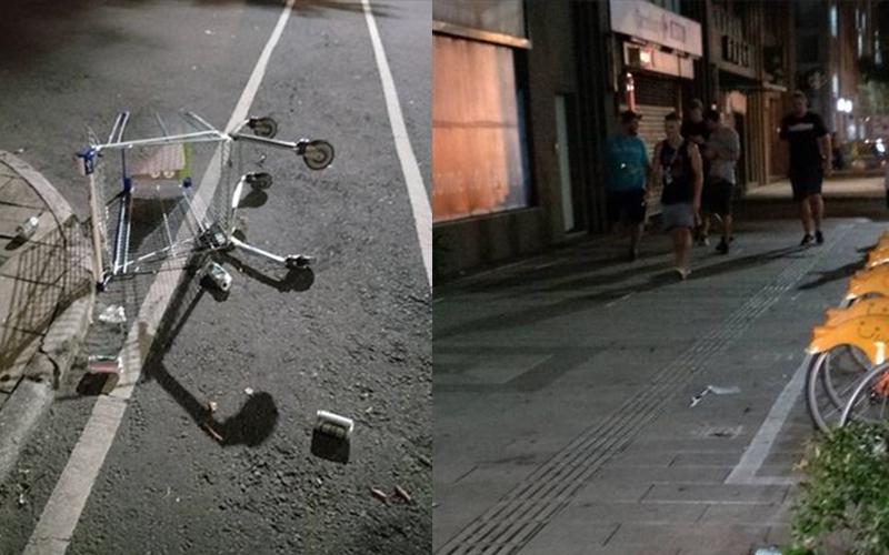 外國世大運選手是屁孩?凌晨酒醉亂丟垃圾大玩推車全被拍!網友:外國的月亮沒比較圓啊
