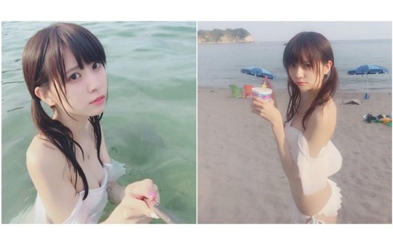 日本宅男女神「楠ろあ」白色比基尼下水濕透....胸前「微嫩山丘」透出誘人粉紅!