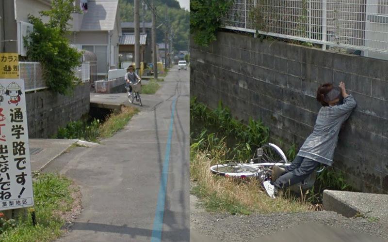 網友在google地圖目擊「老奶奶從自行車摔下水溝」全過程!強忍笑意...但抱歉還是笑了XD
