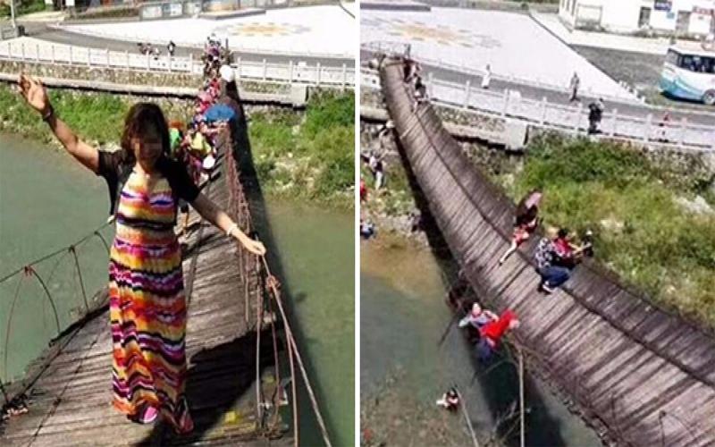 差點變奈何橋!大媽不理「禁止通行」警告執意過橋,下一秒...豬隊友無誤!