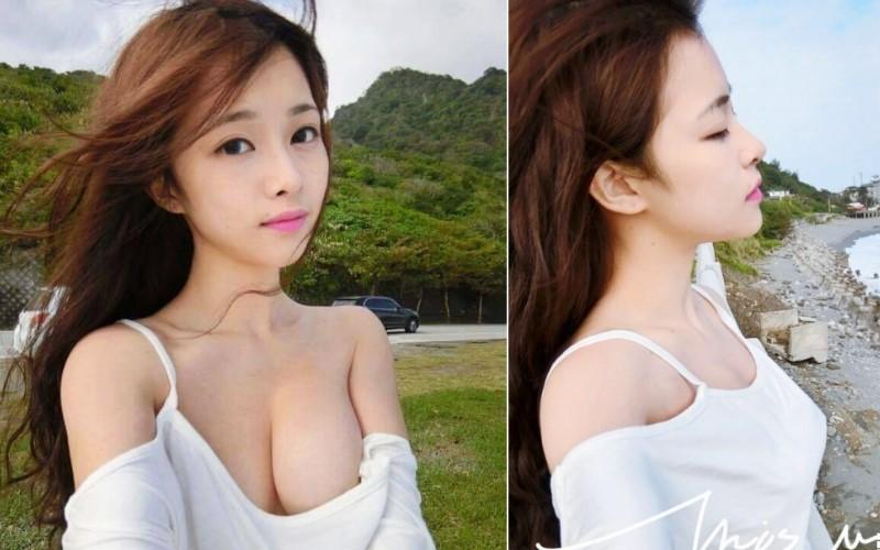 辣翻路人!台灣正妹不穿bra親近大自然!「肩帶掉一邊」整片白皙美乳外放!