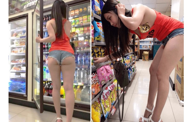 狂!便利商店驚見「蜜桃臀辣妹」小肉包炸出來!這「邪惡畫面」讓店員好害羞…