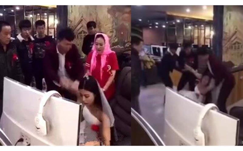 新娘在婚禮當天沉溺網咖打LOL,被親友團強硬拉走,影片網路瘋傳「狂啊!這新娘」