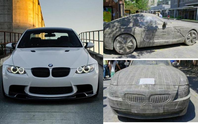 男子因熱愛BMW所以用石頭雕出一台等比例寶馬,沒想到竟感動汽車公司,送了一輛真的寶馬給他!