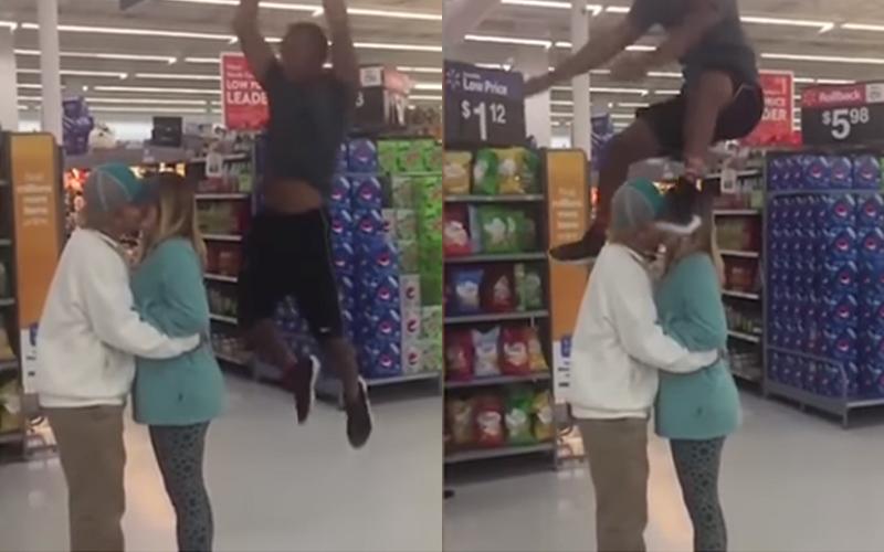 受不了這對情侶在超市裡熱吻擋路,他一躍「跳過頭頂」網路爆紅:超市奧運XD!