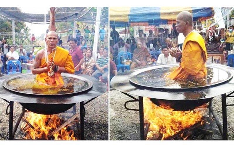 泰國和尚在滾燙的油鍋裡打坐,為何一點痛苦都沒有?現在祕密被揭露了!