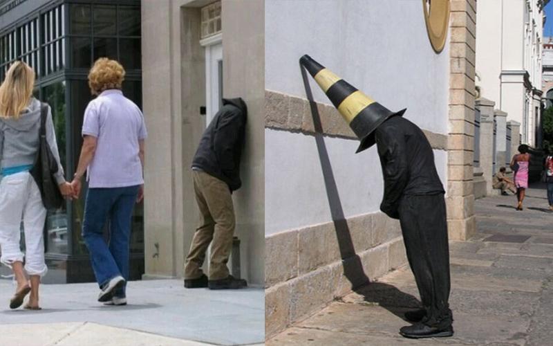藝術家在街頭擺放「人體模型」測試路人反應,結果詭異的動作嚇到不少人!
