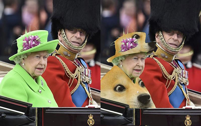 英國女王慶生日穿著「全綠套裝」亮相 ,網友看著「人肉綠幕」忍不住P圖啦XD