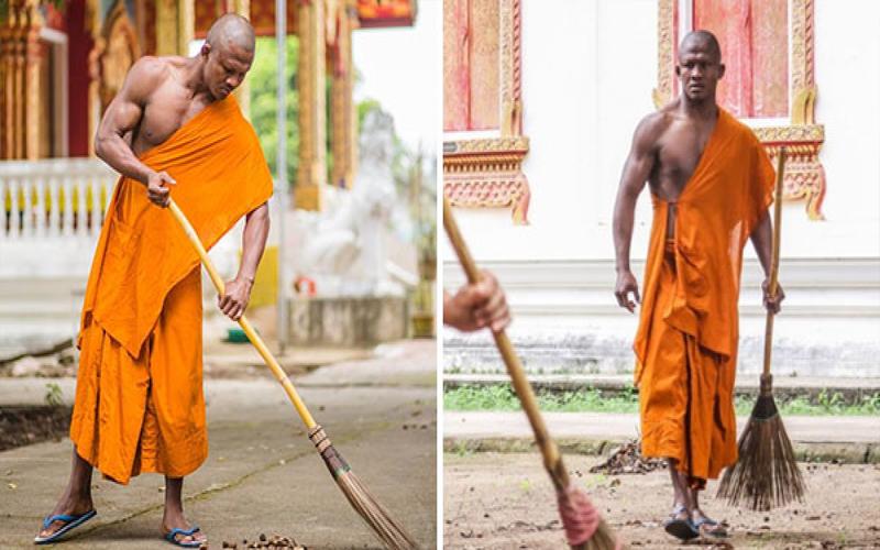 你沒看過的「超猛僧侶」!一身肌肉爆青筋在掃地,出家之前的「戰績」光聽到就要腿軟了!