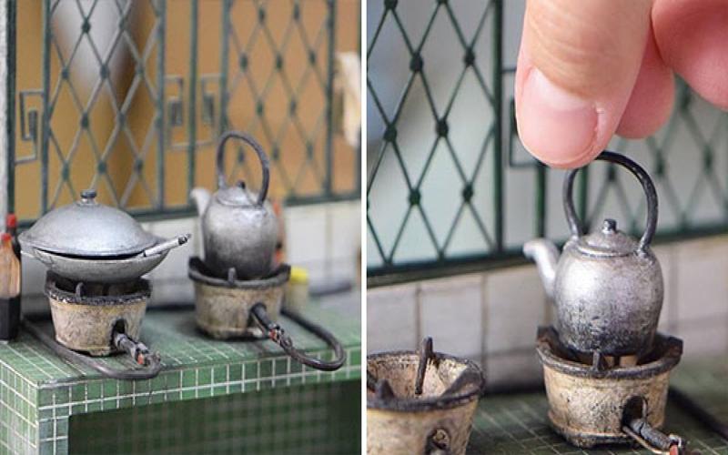 以為只是普通的阿嬤廚房,直到一根手指入鏡...網友:她做的迷你模型也太精緻了吧!