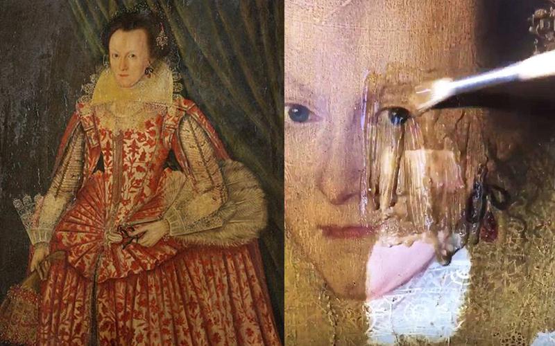 專家親自展示幫400年前的油畫「卸妝修復」,刷洗後瞬間變白皙美人!:這也太療癒(影)